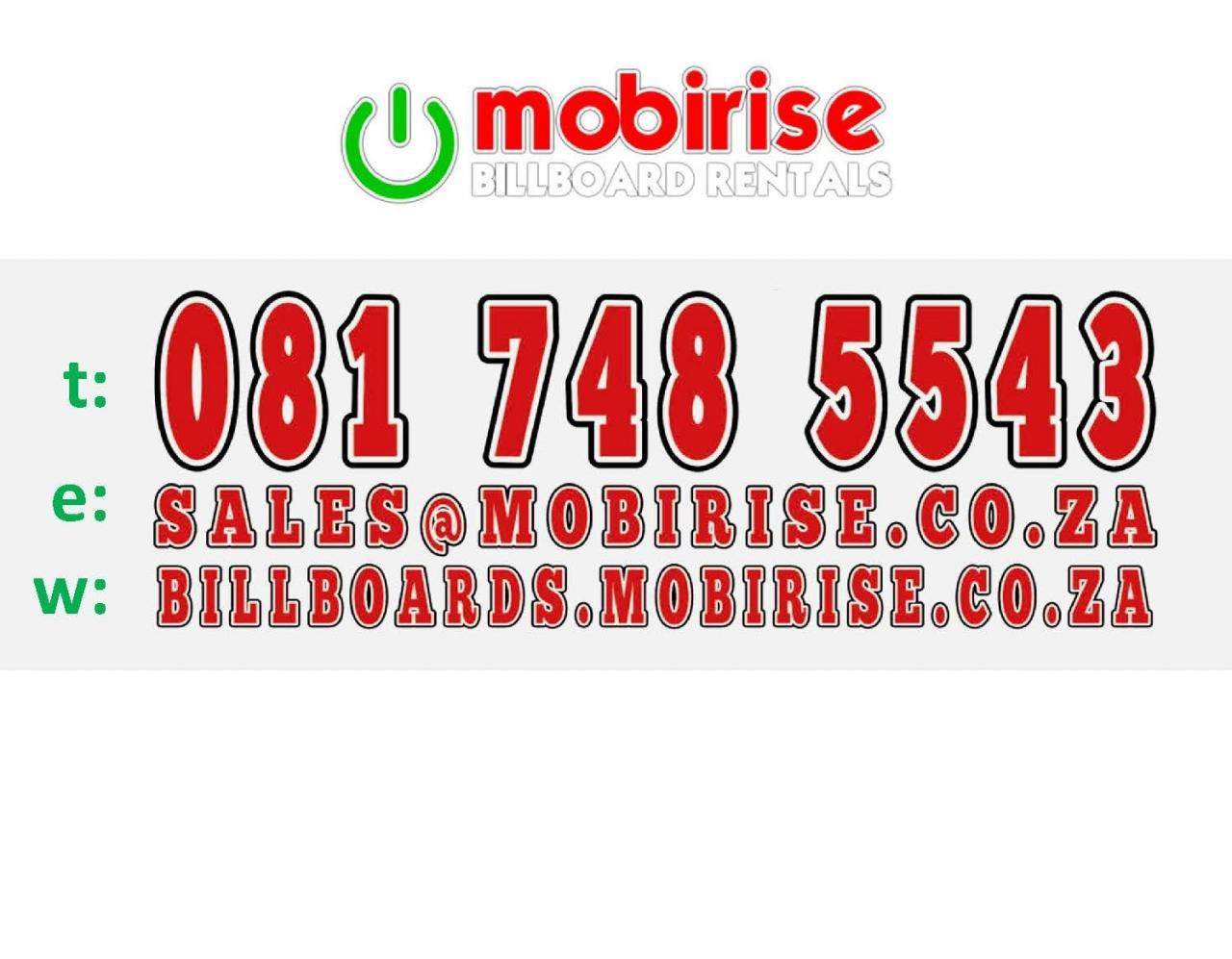 MOBIRISE BILLBOARD RENTALS - 75% EXPOSURE 4 ALL DISCOUNT SPECIALS3